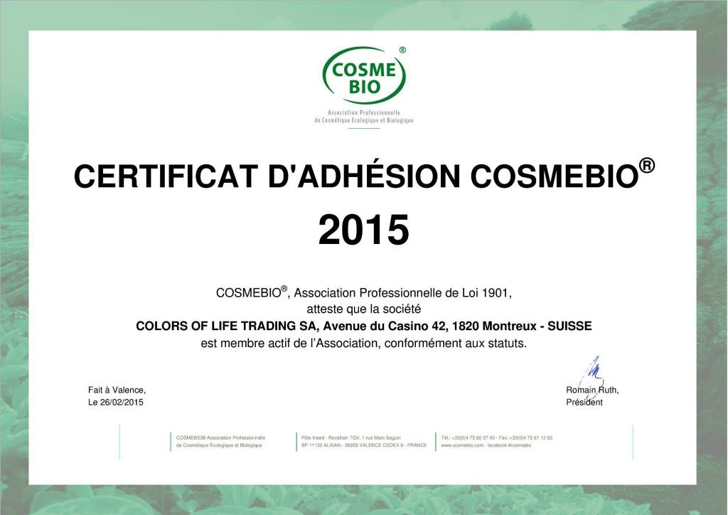 Сертификат BIO на кремы и биомаску Colors of Life
