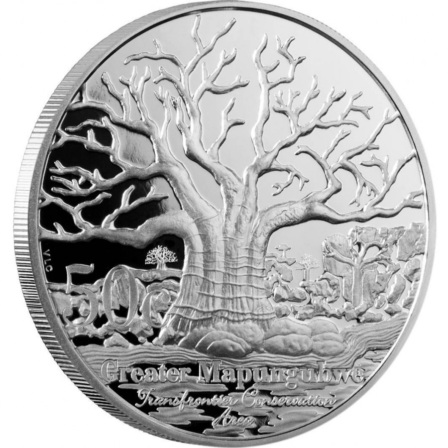 baobab on silver South Africa 50c coin (2012 emission)