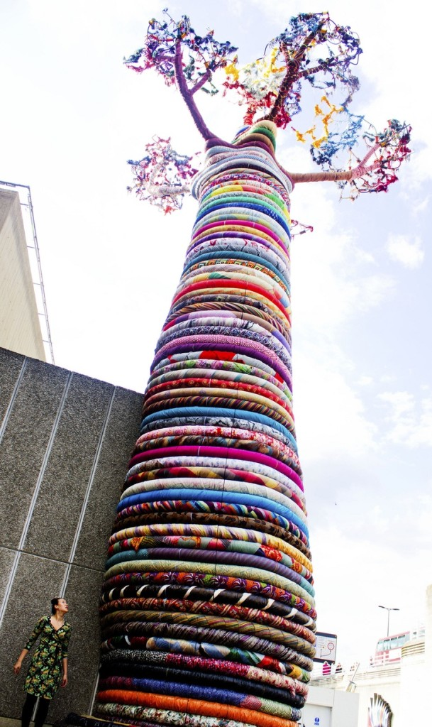 Fabric Baobab tree sculpture near Hayward Gallery, London. Feb, 2013 (South Bank Centre Festival)